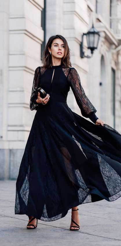 come vestirsi a capodanno 2019 long dress nero pizzo