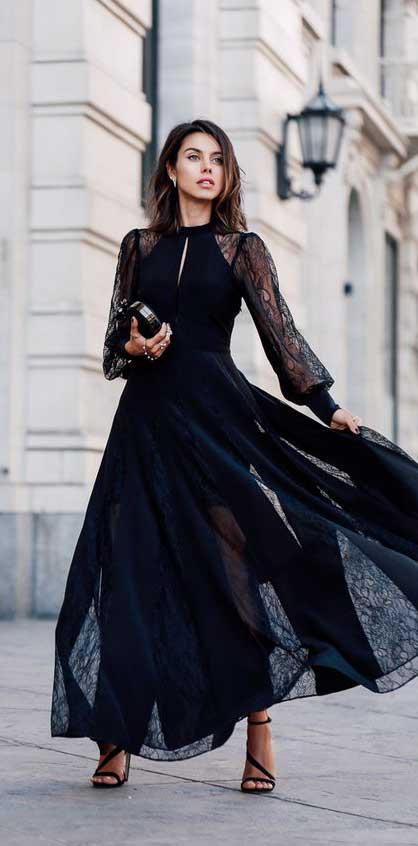 come vestirsi a capodanno 2019 long dress nero pizzo